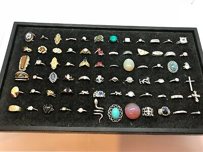 Lot Of 72 Vintage to Recent Costume Rings - Assorted Sizes Silver/Gold Tone