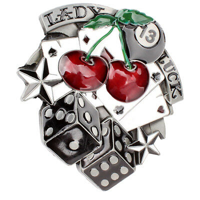20a351664 Lady Luck Vegas Poker Cards Dice Cherry Gamble Metal Western Belt Buckle