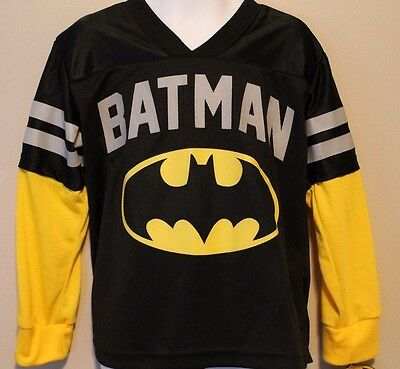 BOYS size 4 BATMAN t-shirt DC Comics (athletic football jersey style) NWT