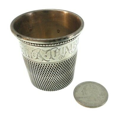"""Vintage Sterling Silver """"Only A Thimble Full"""" 1 Oz. Thimble Jigger Shot Glass"""