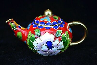 Collectible Chinese rare Old cloisonne handwork flower decorate little Teapot