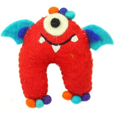 Handmade Needle Felted Wool One-Eyed Red Monster with Wings Tooth Fairy Pillow