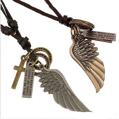 Creative Mens Womens Jewelry Vintage Angel Wing Leather Necklace Charms Pendant