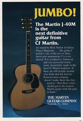 1987 CF Martin Guitar Co Nazareth PA Model J-40M Jumbo Guitar Vintage Photo Ad