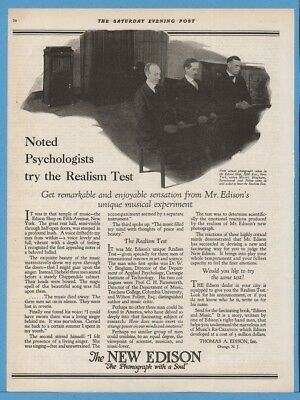 1920 Edison Phonograph Psychologist Realism Test Bingham Farnsworth Follett Ad