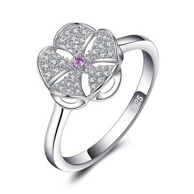 JewelryPalace Flowers Created Pink Sapphire Cubic Zirconia Ring 925 Silver