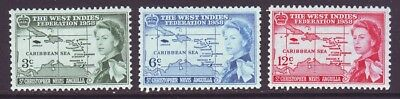 St Kitts-Nevis 1958 SC 136-138 MH Set West Indies Federation