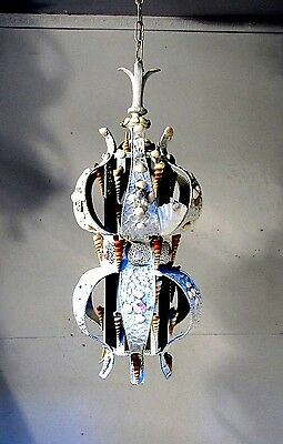 Vintage Chandelier Pendant Light Shabby  Chic 1960's Sea Shell Lamp FIXTURE LAMP