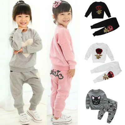 NEW 2PCS Kids Baby Girls Clothes Outfits Cotton T-shirt Tops Tracksuit Pants Set