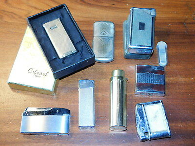 vintage LOT ancien BRIQUET gaz LIGHTER gas FLAMINAIRE dragon kid COLONEL 5 FIVE