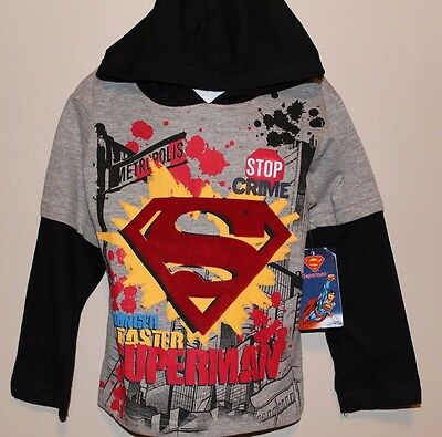 BOYS size 4 SUPERMAN long sleeve t-shirt with hood DC Comics NWT
