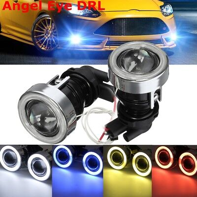 12V H3 Car Projector Lens COB LED Fog Light Halo Angel Eye Rings DRL Bulb Lamp