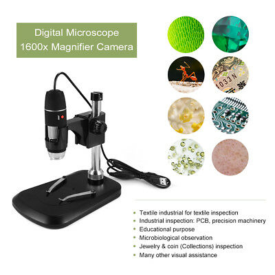 1600X 8LED USB Digital Microscope Endoscope Magnifier Camera with Stand TE894