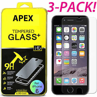 3x Premium Tempered Glass Screen Protector for iPhone 8 7 6 Plus X XR XS Max