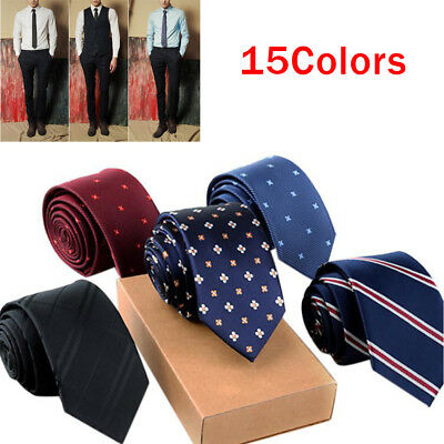 Mens Classic Slim Skinny Business Wedding Party Solid Plain Neck Tie Necktie