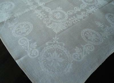 Vintage Set 6 Irish Linen Damask Lapkin Napkins Art Deco Scrolls