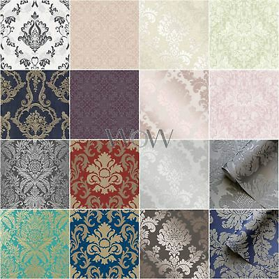Damask Wallpaper - Glitter Metallic Textured Smooth Rose Gold Silver Teal Copper