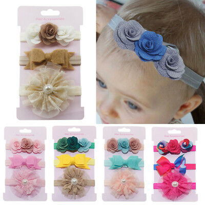 3Pcs Kids Elastic Floral Headband Hair Newborn baby Girls Bowknot Hairband Set