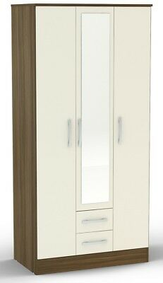 Birlea Lynx 3 Door Wardrobe with 2 Drawers & Mirror  Walnut & Cream Gloss - SALE