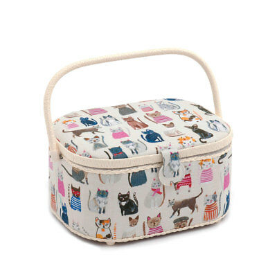HobbyGift HGLO300 | Cats in Jumpers Oval Sewing Box | 16 x 30 x 23cm