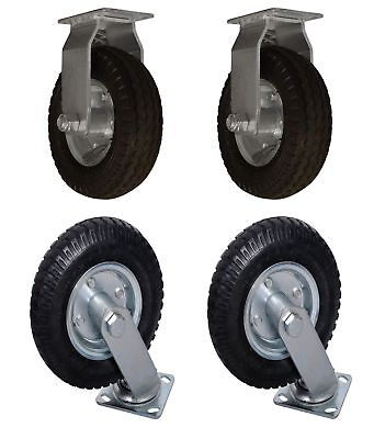 """4 PACK 8"""" Air Tire (2) SWIVEL (2) FIXED Base Caster Heavy Duty Bearing Pneumatic"""