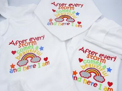 Personalised Embroidered AFTER EVERY STORM COMES A RAINBOW Unisex Baby Clothing