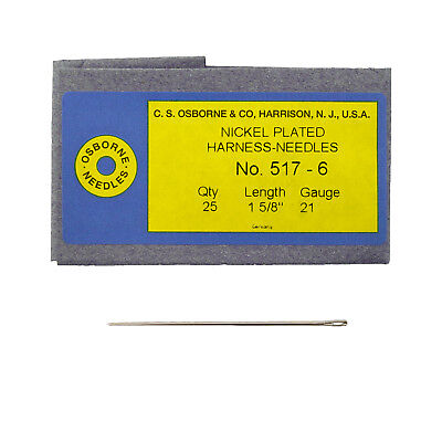 C.S. Osborne Pack Of 25 Harness Needles #517 (517-6) Size 6 Made In USA