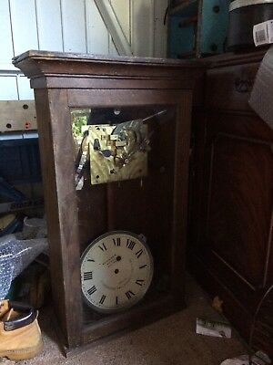 20th century time recording clock by Halifax, brown case , height 78 cm