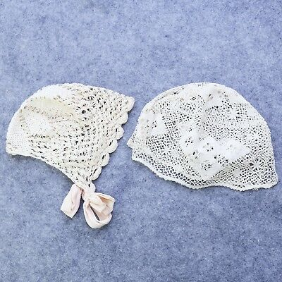 Lot of 2 Vtg Victorian Crocheted Baby Bonnet Antique Nursery Decor