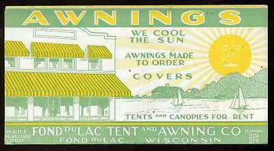 1920's Art Deco Awnings & Tent Canopies Covers Advertising Blotter Fond du Lac