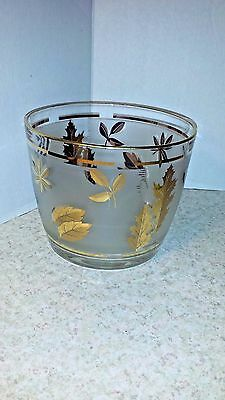 Mid Century Modern Ice Bucket Gold Leaves Vintage Glass Ce Pail