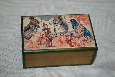 Antique Vintage Cute Fairy/Pixie Treen Wood Stamp Box Fairies Wooden Hinged Lid