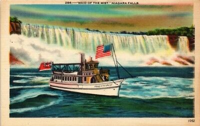 Dr Jim Stamps Us Maid Of The Mist Boat Niagara Falls Linen Postcard