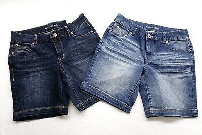 New Maurice's Womens Med or Dark Stretch Blue Denim Jean Shorts All Sizes 1/2-24