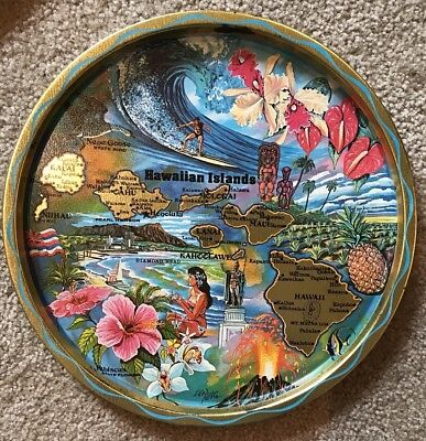 VINTAGE SOUVENIR ROUND METAL Tin TRAY STATE Of HAWAII Map Islands Turquoise Gold