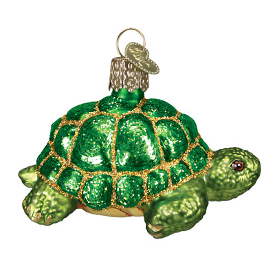 """Tortoise"" (12198)X Old World Christmas Glass Ornament w/ OWC Box"