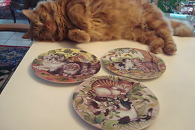 Three Limoges St. Martin Email Cat Plates