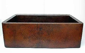 """33"""" Hand Hammered Copper FARMHOUSE Apron Front Kitchen Sink"""