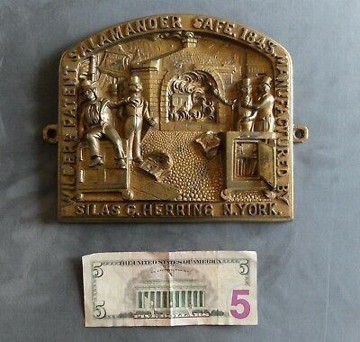 Antique Early Silas Herring's Safe New York Fireproof Brass Plate