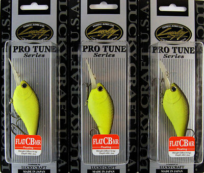 (Lot Of 3) Lucky Craft Flat Cb Mr 3/8Oz Flatcbmr-064 Chartreuse Black (H3)