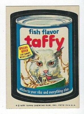 1975 Wacky Packages 14th Series 14 FISH FLAVOR TAFFY wb ex+/nm- o/c