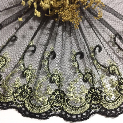24cm,1yard Delicate Black & gold embroidered flower tulle lace trim Sewing FL143