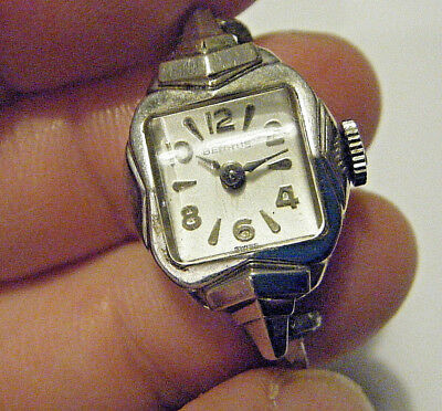 DECO1940s SMALL LADIES BENRUS 14K WHITE GOLD MECHANICAL WIND UP SWISS WATCH RUNS