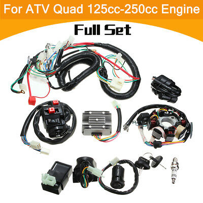 Full Wiring Harness Loom Solenoid Coil Regulator CDI 125 200 250cc ATV Quad Bike