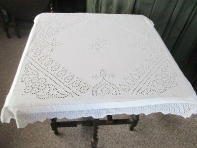 Antique Tablecloth-Hand Embroidery & Hand Crochet Edge