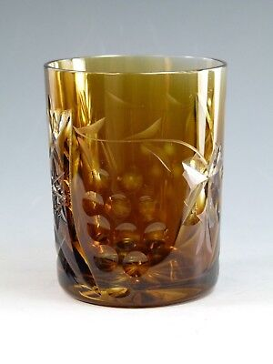 "NACHTMANN Crystal - TRAUBE Design - Tumbler Glass / Glasses - 4"" - Burnt Orange"