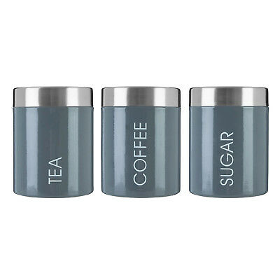 Set of 3 Liberty Tea Coffee Sugar Canisters Jar Stainless Steel Storage Tin Grey