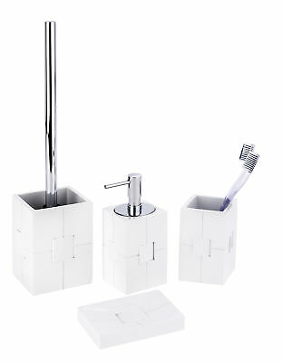 4tlg Wenko Bad Set Houston Weiss Im 3d Design Inkl Wc Garnitur