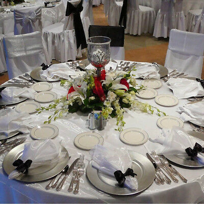 Set Of 148 Silver Round Charger Serving Under Plates Wedding Place Settings New