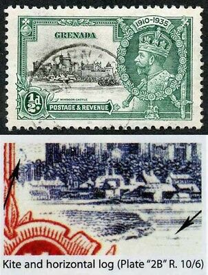 Grenada SG145l 1935 Silver Jubilee 1/2d with Kite and Horizontal Log VFU